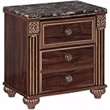 Ashley Furniture Signature Design - Gabriela Nightstand - Antiqued Bedside Table - Dark Reddish Brown