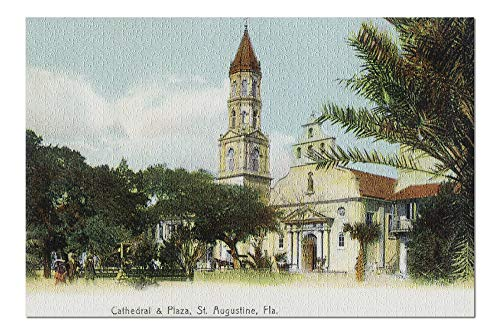 St. Augustine, Florida - View of the Cathedral from the Plaza (20x30 Premium 1000 Piece Jigsaw Puzzle, Made in USA!)