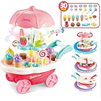 WP Sweet Shopping Battery Operated Ice Cream Trolley Set for Kids with LED Lights and Music (Multicolor) -30 Pieces