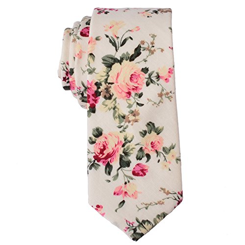 EasyJoy Skinny Ties Men's Cotton Printed Floral Necktie (color 8) (Mens Printed Tie)