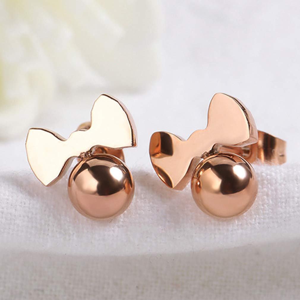 Wonlines Fashion Rose Gold Stainless Steel Bow Stud Earrings