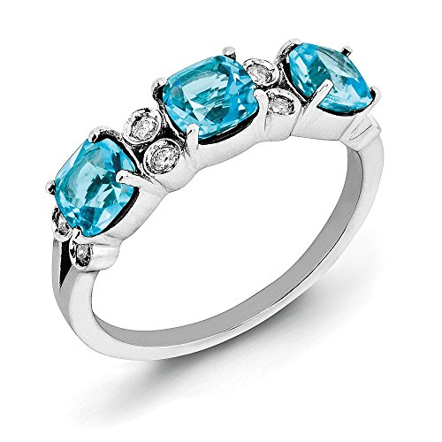 Cushion Light Blue Topaz & 1/10 Ctw (H-I, I2-I3) Diamond Sterling Silver Ring Size 10