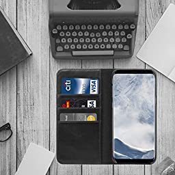 HUIHONG Galaxy S8 Case Genuine Leather Galaxy S8 Wallet Case Magnet Flip Cover with 3 Credit Card Slots for Samsung Galaxy S8 (2017) - Black