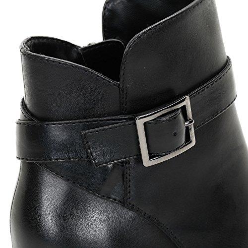 ALESYA by Scarpe&Scarpe - Botines altos con hebilla y plataforma, de Piel, con Tacones 10 cm Negro