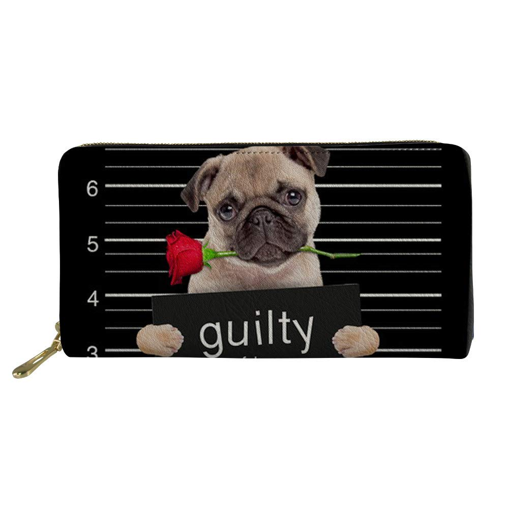 非人格性レディース財布ブラックロングソフトレザークラッチ電話収納ジッパー財布ノベルティローズパグ犬 B07GTFJ5W9
