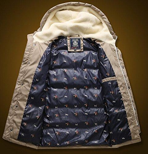 Fit Coats Jackets EKU Slim Warm Hoodie Pocket Casual Zipper Mens Khaki xxl txSxwqHB