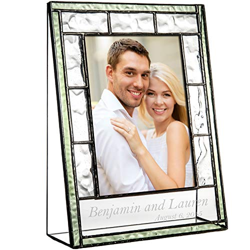 J Devlin Pic 389-57V EP545 Personalized 5x7 Picture Frame Engraved Glass Wedding Engagement 5x7 Photo - Engraved Frame