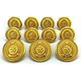 "MetalBlazerButtons.com Brand - Premium GOLD Finish with Burnished Rim - SWORD WIELDING LION CREST - (11-Button, Single Breasted) METAL BLAZER BUTTON SET - 7/8"" & 5/8"" BUTTONS"