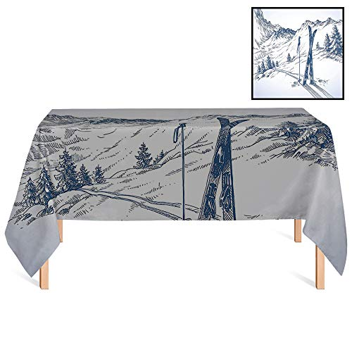 SATVSHOP Kitchen Tablecloth /55x55 Square,Winter rations Sketchy Graphic of a Downhill with Ski Elements in Snow Relax Calm View ES Blue White.for Wedding/Banquet/Restaurant. ()