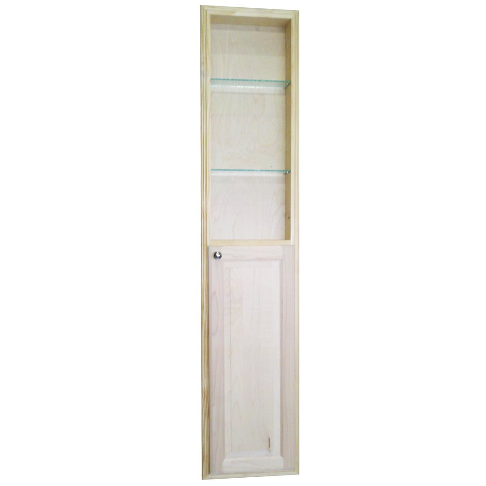 WG Wood Products Recessed Manhattan Pantry Storage Cabinet with 36'' Shelf & 3.5'' Deep, 72'', Unfinished