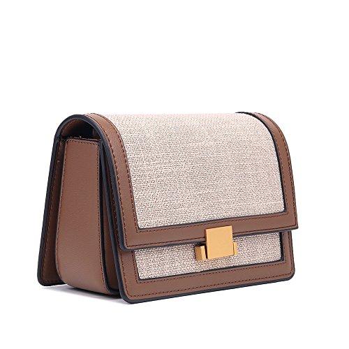 hombro la femenino de Crossbody simple color cuadrado retro algodón cerradura Regalo bolso especial de de mensajero Bolso de PU y del lino señora caramelo del la del emb de hombro Bolso del femenino 0x7fqw7A