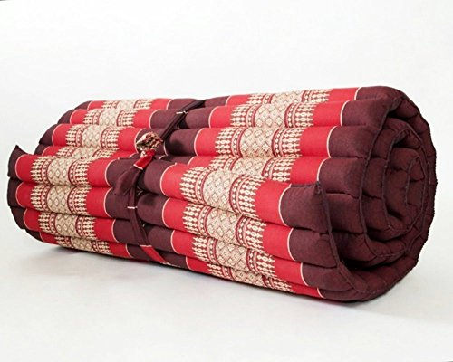 Thailand: Large Roll Up Thai Mattress, Size 69x30x2 inches, Red, black, Elephant Thai Pattern. #010 by Conserve Brand