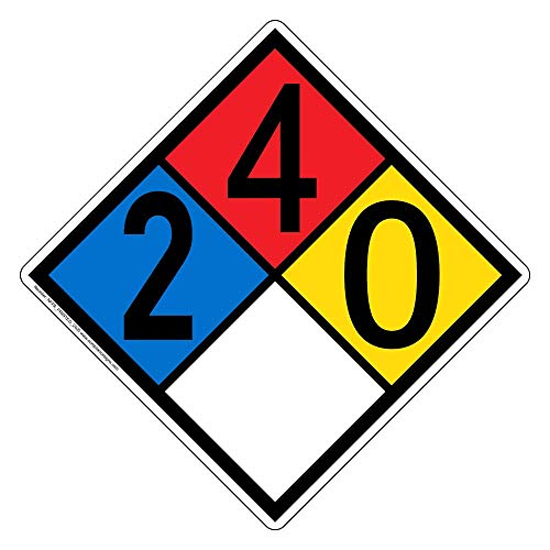 NFPA 704 2-4-0-0 Label Decal, 12 inch Vinyl for Hazmat by ComplianceSigns