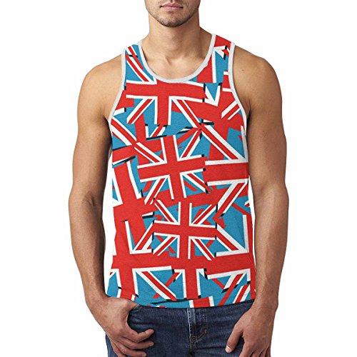 INTERESTPRINT UK Flag Union Jack Men's Vest Tank Tops Sleeveless T-Shirt XXL