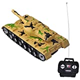 Gimilife Military RC Battle Tank Remote Control Battling Tank Toys for Kids ,Bump and Go Action with Lights and Real Sounds,Camouflage Yellow