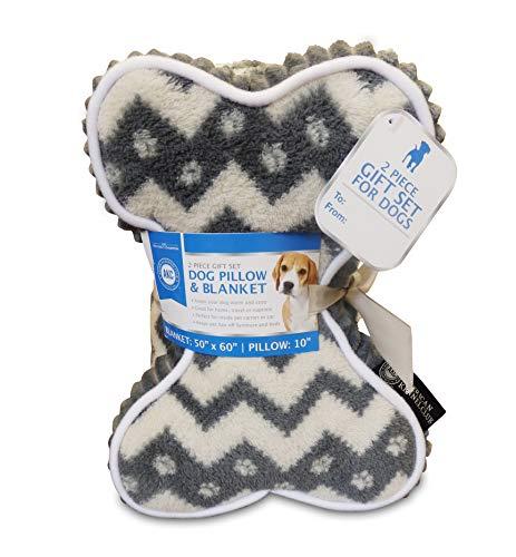 American Kennel Club AKC Chevron Print Pet Blanket & Pillow Gift Set, 2 PC, Gray