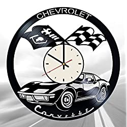 Retro Chevrolet Corvette Vinyl Wall Clock Automobile Unique Gifts Living Room Home Decor