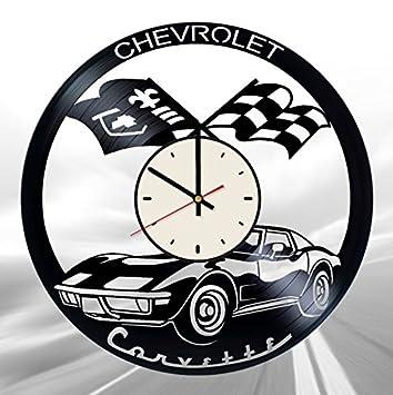 Amazing Retro Chevrolet Corvette Vinyl Wall Clock Automobile Unique Gifts Living Room Home Decor Download Free Architecture Designs Scobabritishbridgeorg