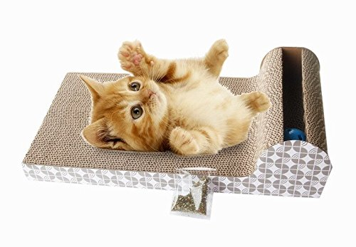 """""""FORET TERRAIN griffoir chat carton en haute qualité pour soin de griffe et protéger les meubles, en forme d'un lit,une planche ondulé avec une balle dedans à jouer Taille:46 x 25 x 11 cm"""""""