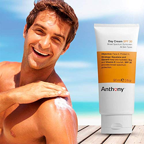 Anthony Day Cream SPF 30, 3 Fl Oz, Contains Squalane, Glycerin, Soy and Vitamin E, Hydrates, Nourishes, and Sunscreen Provides Broad Spectrum Protection To Skin