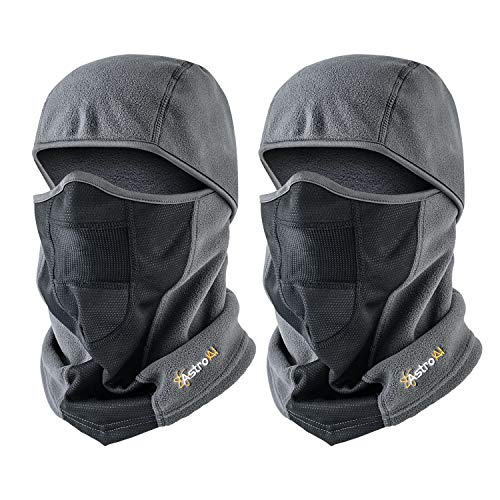 AstroAI Ski Mask Balaclava Winter Gifts for Men Women Windproof Breathable Face Mask for Cold Weather 2 Pack (Superfine Polar Fleece, Grey)