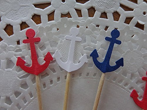 Anchor-Cupcake-Toppers-Navy-Blue-Red-White-Anchor-Toppers-Party-Picks-Food-Picks-Set-of-24