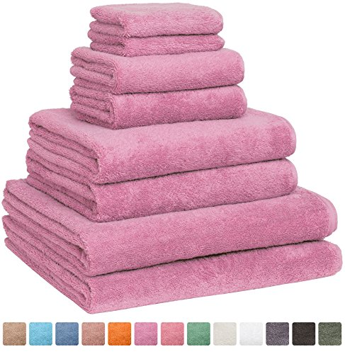 Fast Drying Extra Large Bath Towel Set, Decorative & Luxury Premium Turkish Cotton Towels for Clearance - Spa & Hotel Quality - Pack of 8 including 2 Oversized Bath Sheets (30x60) - Pink (Pool Round Gold Cover)