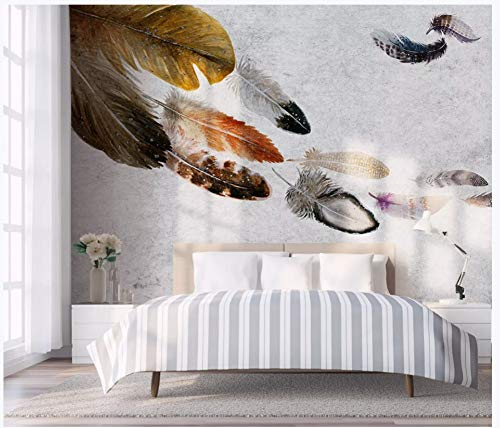 Murals,Custom 4D Wallpaper Creative Series Colored Feathers Flying Art Print Wall Painting Hd Print Poster For Tv Backdrop Living Room Children'S Room Bedroom Cafe Home Home Decor Large Silk Mural ()