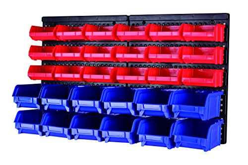 MaxWorks 80694 30-Bin Wall Mount Parts Rack/Storage for your Nuts, Bolts, Screws, Nails, Beads, Buttons, Other Small ()