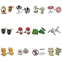 Outlander Gear Marvel Comics 12 Pairs Infinity War Superhero 2018 Movie Mens Boys Cufflinks