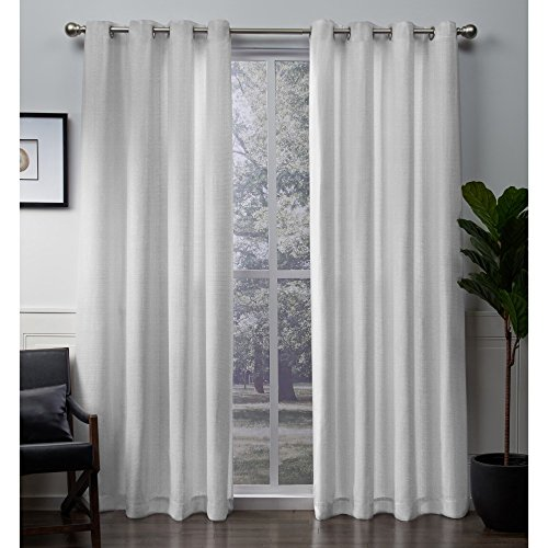 Exclusive Home Winfield Heavyweight Metallic Sheen Treatment Basketweave Window Curtain Panel Pair with Grommet Top, 54x84, White, 2 Piece