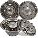 Wheel Simulators for Ford F450 F550 (Pack of 4) 19.5 Inch Snap On, Stainless Steel Hub-Caps
