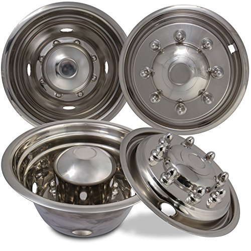 Wheel Simulators for Ford F450 F550 (Pack of 4) 19.5 Inch Snap On, Stainless Steel Hub-Caps by OxGord