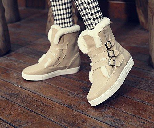 Mee Shoes Damen hidden heel runde Nubukleder Klettband Ankle Boots Beige
