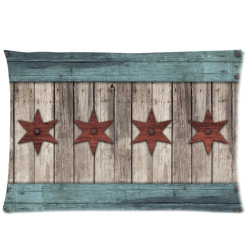 Chicago State Flag Vintage Wood Pattern Pillowcase - Zippered Pillowcase, Pillow Protector, Best Pillow Cover - Standard Size 20x30 inches, One-sided Print by WECE (Image #3)
