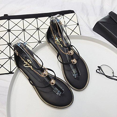 Scothen Sandalias romanas las mujeres T-Brace sandalias flip flop zapatos planos del verano del estilo de Bohemia diamantes de imitación Roman cinta para cabeza del tobillo Trenzado T-Correa sandalias Black