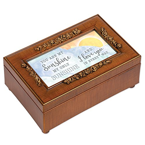 Orange Music Box - Cottage Garden Love You in Every Way Woodgrain Embossed Jewelry Music Box Plays You are My Sunshine