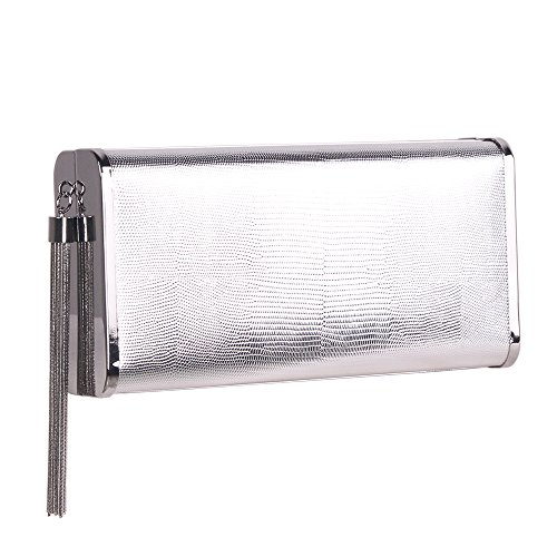 M10M15 Silver Clutch Purse Handbag with Metal Tassel for Women, Crossbody Evening Bag in Hardcase with Strap Chain for Party by M10M15