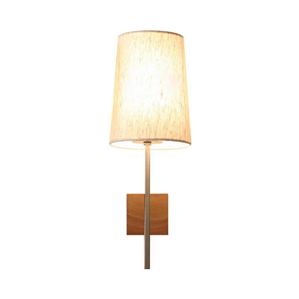 Wall Lights, Retro Bedroom Bedside Wall Lamp Stairs Simple Solid Wood Lighting Single Head E27 Interface Button 43 15cm ( Size : 4315cm )