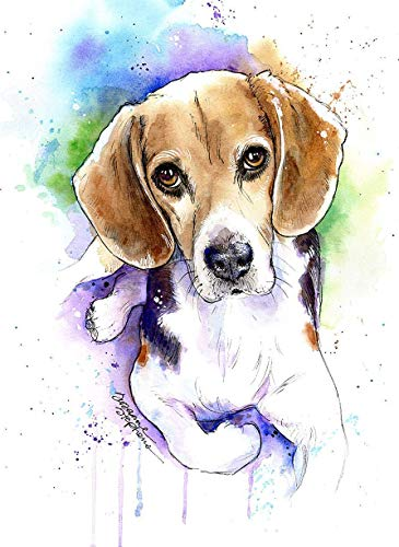 Beagle Watercolor Art Print from Painting, Pet Themed Party Nursery Home Wall Decor, Gift for Dog Mom, Dad, Parent; Rainbow Bridge Pet Loss Sympathy Bereavement Housewarming Memorial Gift