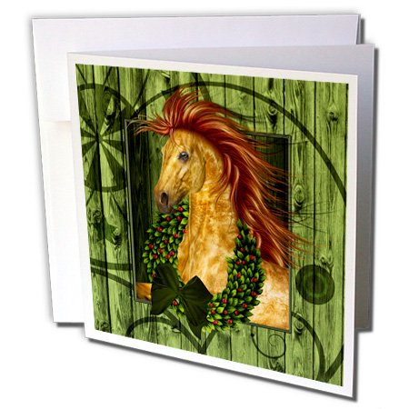 3dRose Western Christmas Horse with Wreath and Barn Wood - Greeting Cards, 6 x 6 inches, set of 12 (gc_164738_2)