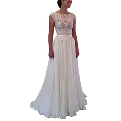 Womens Sheer Lace Simple Boho Beach Wedding Prom Dresses Open Back US 2 Ivory