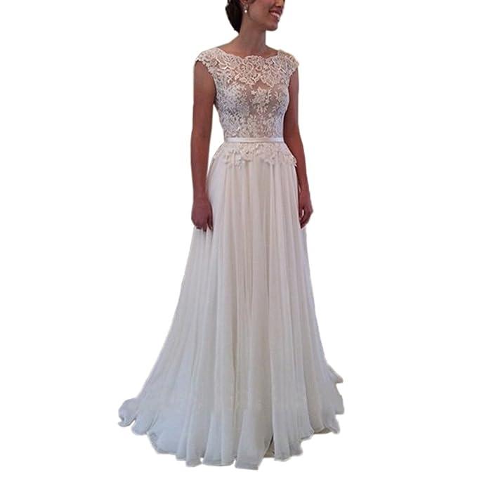 Women\'s Sheer Lace Simple Boho Beach Wedding Prom Dresses Open Back ...