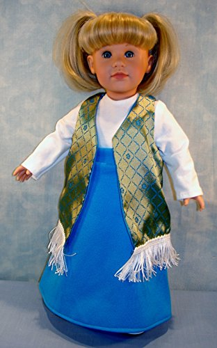 18 Inch Doll Clothes - 1970's Blue Maxi Skirt, Gold Vest Outfit handmade by Jane Ellen to fit 18 inch dolls