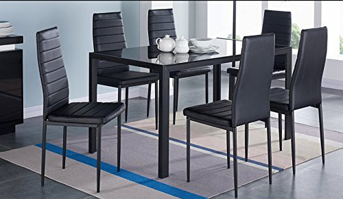 IDS Home 7 Piece Glass Dining Table and Chair Set for 6 Kitchen Dining Room Furniture Rust Resis ...