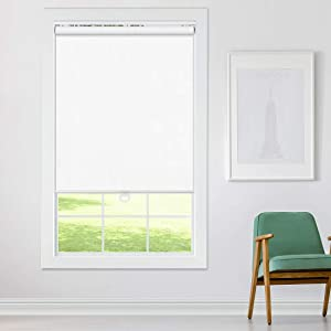 Keego Cordless Roller Blinds and Shades for Windows - Blackout Spring Roller Shades - Cordless Privacy Room Darkening Window Cover for Home & Office [White 100% Blackout,39