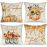 AENEY Fall Pillow Covers 18x18 Set of 4 for Fall Decor Pumpkin Maple Leaves Sunflower Vase Outdoor Fall Pillows Decorative Th