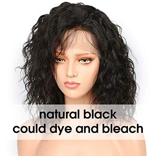 (134 Brazilian Lace Front Human Hair Wigs For Women Remy Natural Wave Black Short Bob Wig Pre Plucked 130% Denisty,Natural)