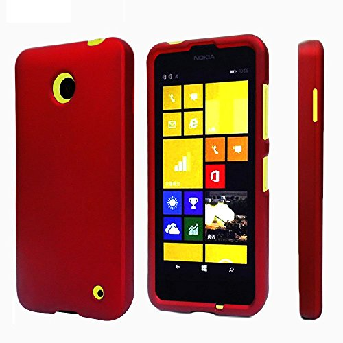 Spots8 for Nokia Lumia 630/635, 2 Piece Snap On Cellphone Cell Phone Hard Protective Case Cover with Free Screen Protector - Red