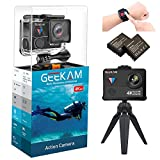 Digital Video Underwater Camera Live Streaming Touch Screen Action Cam 4K HD WiFi Sports Cameras 170° Ultra Wide Angle Remote Control Waterproof Camcorder 100ft with 2 Rechargeable 1350mAh Batteries